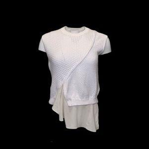 3.1 Phillip Lim White Knit Top w/ Asymmetrical Hem